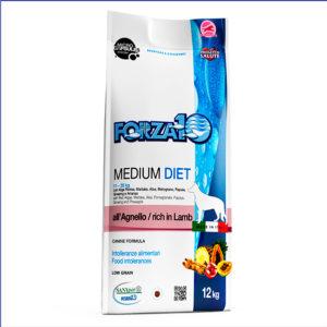 FORZA10 Medium Diet 24/12 гипоаллергенный для взрослых собак средних пород из ягнёнка 12 кг